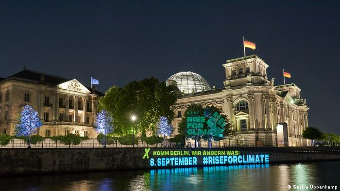 Photo taken at night of Berlin's Reichstag building