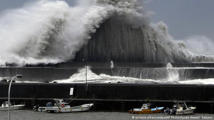 High waves hit breakwaters at a port of Aki, Kochi prefecture