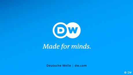 """Logo-Tafel DW mit Claim """"Made for minds."""" mit URL als Abbinder in Videos"""