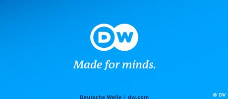 "Logo-Tafel DW mit Claim ""Made for minds."" mit URL als Abbinder in Videos"