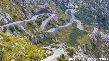 Drive, Mallorca, Balearics, Sa Calobra, bus, curve, island, landscape, mountain, nature, pass, road, rocks, sightseeing, Spain, Europe, steep, touristic, traffic, transport | Verwendung weltweit