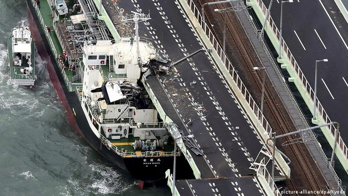 A tanker crashes into a bridge