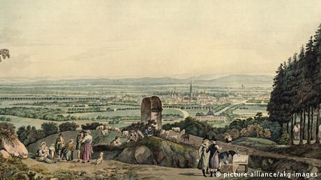 Painting with a historical view of Bonn as seen from a hill