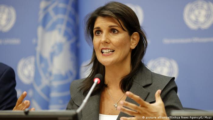 USA UN Nikki Haley in New York (picture-alliance/Xinhua News Agency/Li Muzi)
