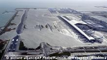 04.09.2018 Kansai International Airport is partly inundated following a powerful typhoon in Osaka, western Japan, Tuesday, Sept. 4, 2018. A powerful typhoon blew through western Japan on Tuesday, causing heavy rain to flood the region's main offshore international airport and high winds to blow a tanker into a connecting bridge, disrupting land and air travel. (Kentaro Ikushima/Mainichi Newspaper via AP)