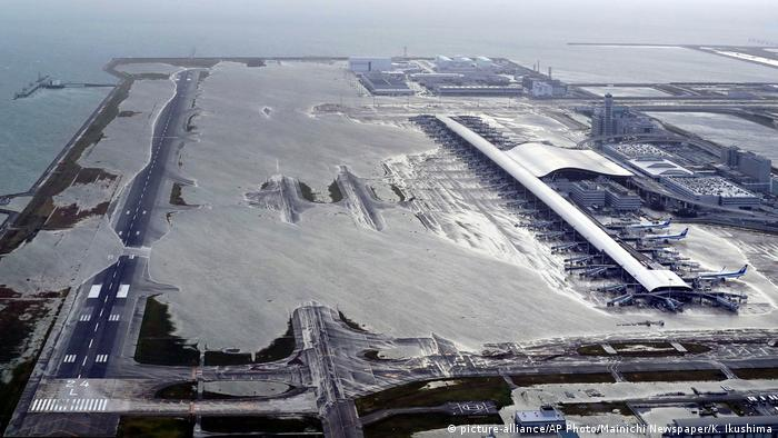 The Kansai International Airport partly inundated after the typhoon swept across Japan