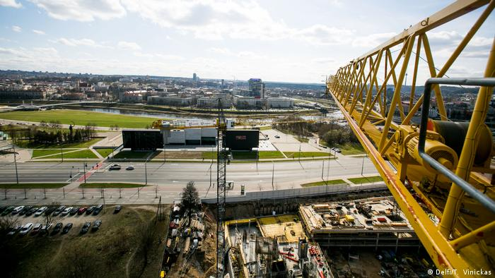 View from atop a crane on a construction site in Vilnius, Lithuania