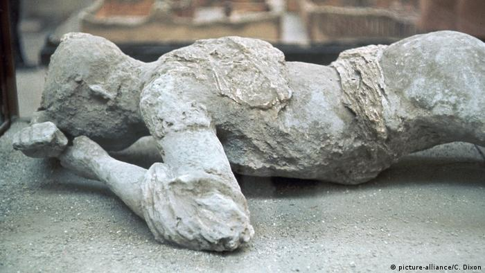 Cast of a victim of the eruption of Vesuvius in Pompeii,