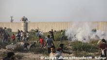 Gaza - Palästinenser demonstrieren bei Erez Übergang an der Grenze zu Israel