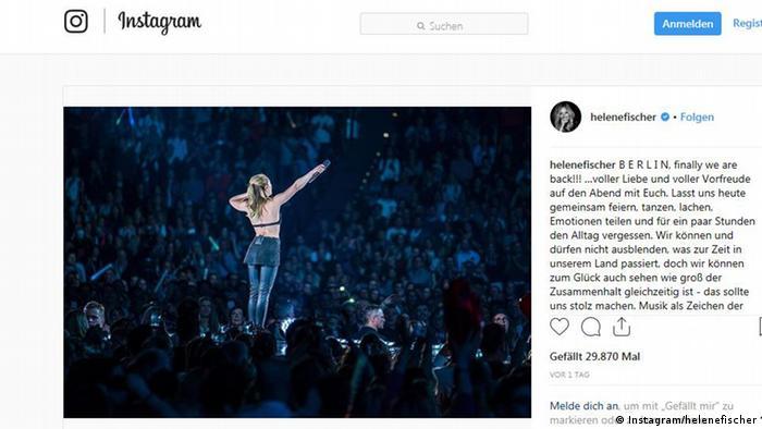 Screenshot Instagram/Konzert Helene Fischer