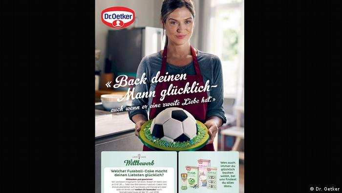 Dr. Oetker ad with woman holding soccer-shaped cake (Dr. Oetker)