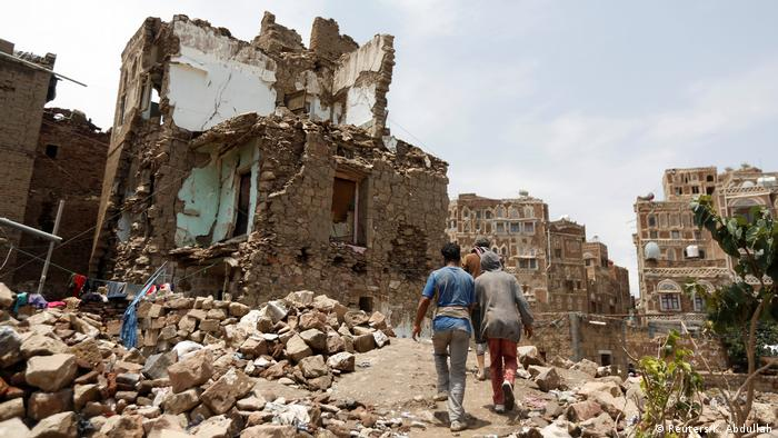 Ruins after an air strike in Sanaa, Yemen