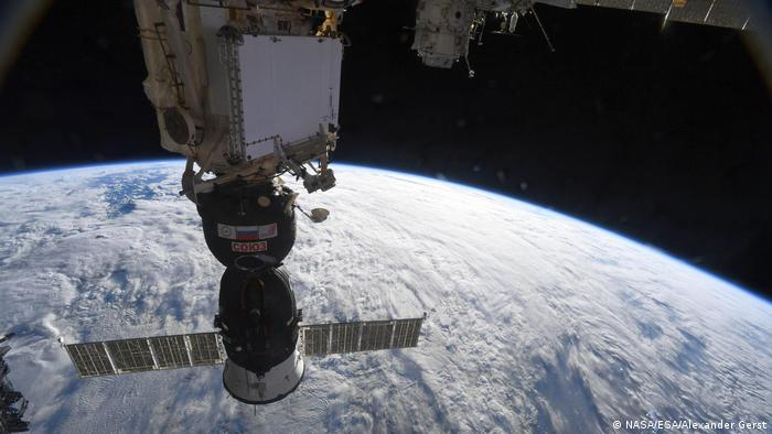 A Soyuz space ship docked at the International Space Station