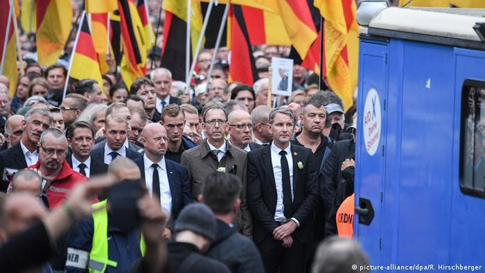 AfD supporters march in Chemnitz