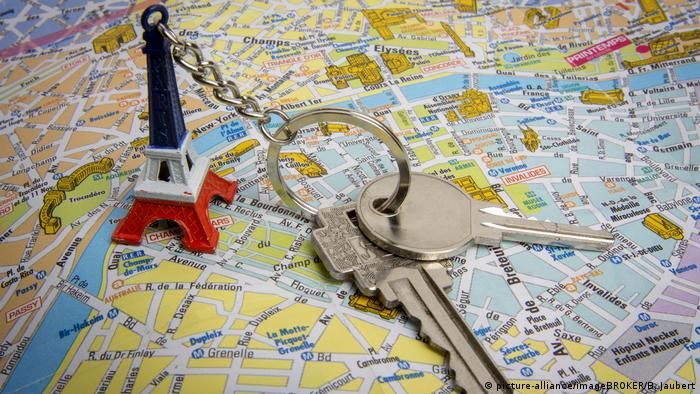 Stadtplan von Paris mit Haustürschlüsse