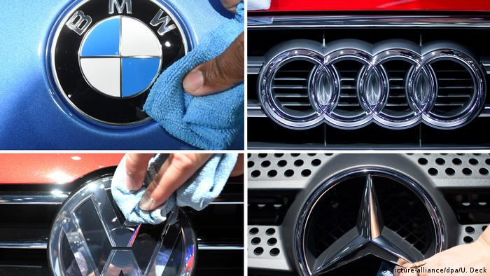 A collage of pictures of logos of BMW, Audi, Volkswagen and Mercedes
