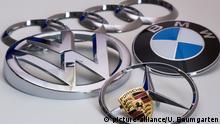 Logos AUDI, Volkswagen, BMW, Mercedes Benz und Porsche