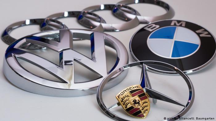 The logos of German car brands Audi, VW, BMW, Porsche and Merzedes-Benz