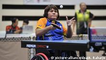 JAKARTA, INDONESIA - JULY 03: Indonesian table tennis player competes at Senayan in Jakarta, Indonesia on July 3, 2018. Basketball and tennis divisions of Indonesia are being tested ahead of Asian Para Games 2018, which will be held on October 6-13 in Indonesia. Anton Raharjo / Anadolu Agency | Keine Weitergabe an Wiederverkäufer.