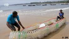 Ein Boot aus Plastikflaschen in Kamerun