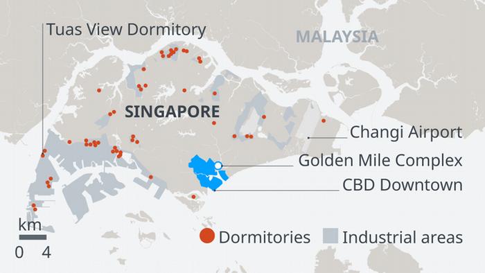 Karte Infografik Bildergalerie thailändische Migranten Singapur EN