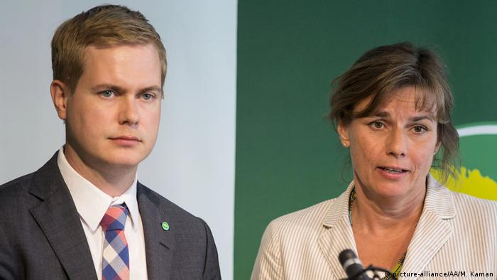 Green Party candidates Gustav Fridolin and Isabella Lovin