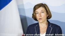 03.09.2018 +++ Federal Minister of France Florence Parly, speaks during a working visit at Swiss Federal Councilor Guy Parmelin, on Monday, September 3, 2018, at the Lohn near Bern, Switzerland. (KEYSTONE/Peter Schneider) |