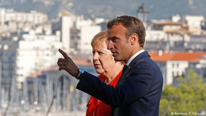 Marseille Präsident Macron und Kanzerlin Merkel