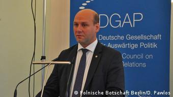Szynkowski vel Sęk podczas przemówienia w Niemieckim Towarzystwie Polityki Zagranicznej w Berlinie