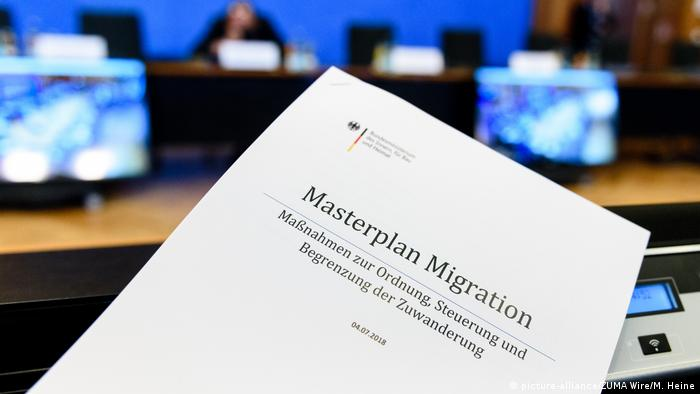 A Copy of the ''Masterplan Migration'' during the presentation of the ''Masterplan Migration