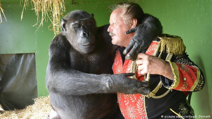 Шимпанзе Робби и директор цирка Клаус Кёлер