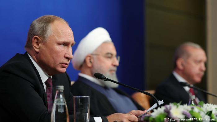 Владимир Путин, Хасан Роухани и Реджеп Тайип Эрдоган на встрече в Тегеране в сентябре 2018 года