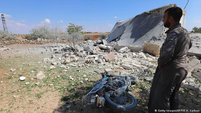 Bomb damage in a village on the southern edges of Idlib province in early September