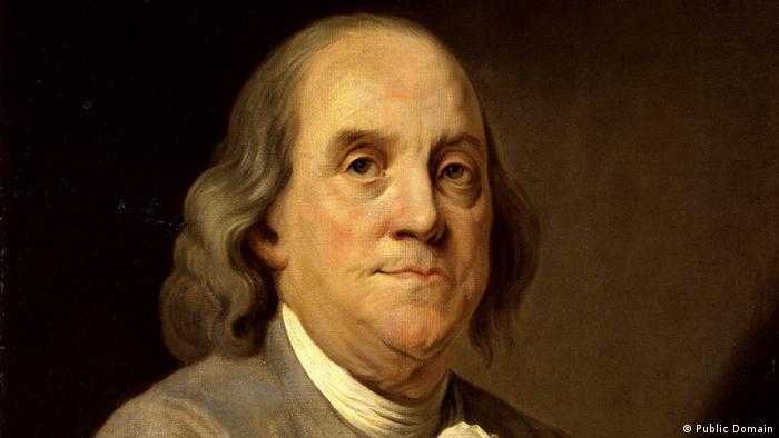 Benjamin Franklin em pintura a óleo de Joseph-Siffred Duplessis