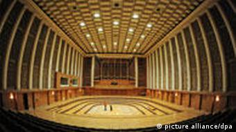 The concert hall at the Berlin radio broadcasting station designed by Franz Ehrlich, completed in 1956