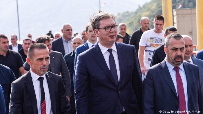 Serbian President Aleksandar Vucic visits the Gazivoda Lake in Kosovo
