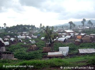 A refugee camp in a forest