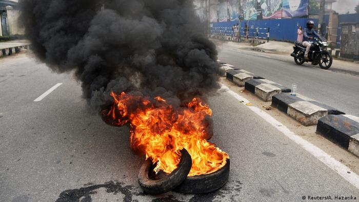 Burning tires following protests against fuel price hikes in Guwahati, India (Reuters/A. Hazarika)