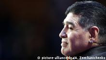 Russland, Moskau: Fußball: Der ehemalige Fußballspieler Diego Maradona