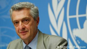 Schweiz, Genf: UN-Beauftragte für Flüchtlinge Grandi und der UN-Koordinator für humanitäre Hilfe, Lowcock, nehmen an einer Pressekonferenz teil (Reuters/D. Balibouse)