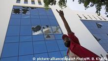 Libyen | Beschädigtes Gebäude der national oil company nach Attacke