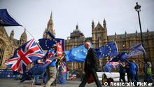 Anti-Brexit demonstrators wave flags outside the Houses of Parliament, in London, Britain, September 10, 2018. REUTERS/Hannah McKay