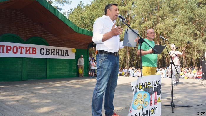 Сергей Петрухин на акции протеста против строительства аккумуляторного завода под Брестом