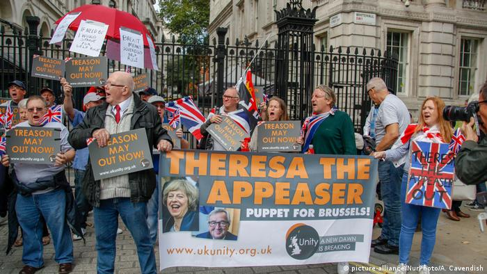 UK Pro-Brexit Unterstützer vor der Downing Street in London (picture-alliance/NurPhoto/A. Cavendish)