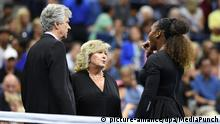 FLUSHING NY- SEPTEMBER 08: Serena Williams walks off the court with head ref Brian Early and WTA supervisor Danna Kelso during her match with Naomi Osaka in the women's finals on Arthur Ashe Stadium at the USTA Billie Jean King National Tennis Center on September 8, 2018 in Flushing Queens. *** NO NY NEWSPAPERS*** Credit: mpi04/MediaPunch |