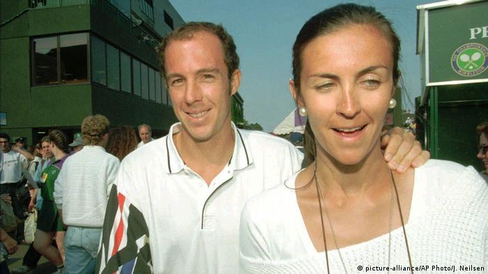Wimbledon 1995 |  Jeff Tarango und seine Frau Benedicte Tarango (Bildallianz / AP Photo / J. Neilsen)