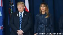 President Donald Trump and First Lady Melania Trump stand for a moment of silence for the victims at a ceremony marking the anniversary of 9/11 at the Flight 93 National Memorial in Shanksville, Pennsylvania on Tuesday, September 11, 2018. It is the 17th anniversary of the crash of United Flight 93 on September 11, 2001. Photo by Pat Benic/UPI Photo via Newscom picture alliance |