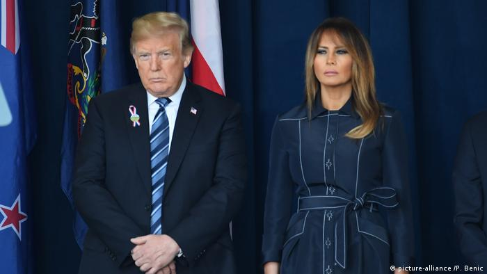 USA, Shanksville: Donald and Melania Trump stand next to each other. Neither is smiling.