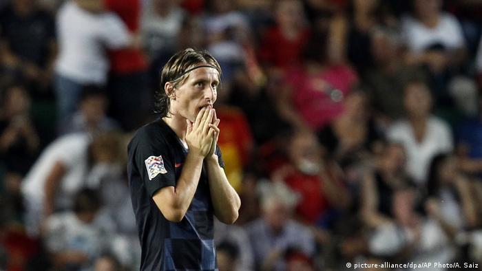 Luka Modrić Espanha-Croácia Liga das Nações UEFA (picture-alliance/dpa/AP Photo/A. Saiz)