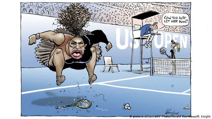 Mark Knight's cartoon published by the Herald Sun depicts Serena Williams as an irate, hulking, big-mouthed black woman jumping up and down on a broken racket.